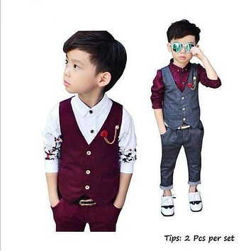 2016 Brand New 2Pcs Boys Spring Formal Wedding Vest Suit Top Quality Gentle Boys Polka Dot Suit Children Wedding Suits