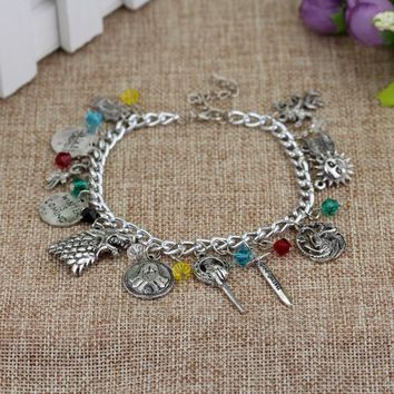 SG Fashion Film Series Game Of Thrones Charm Bangles Wolf Head House With Crystal Multi-accessories Pendant Women Bracelet