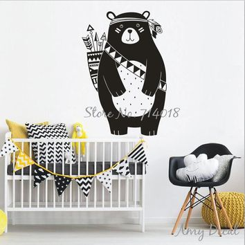 Tribal Bear Wall Decal Woodland Animal Bear Wall Sticker For Kids Room Tribal Nursery Wall Sticker Home Decoration Vinyl A741