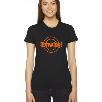 schwing wayne's world Ladies Fitted T-Shirt