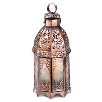 Copper Finish Moroccan Tealight Candle Lamp Decor