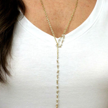 Long Gold & White Rondelle Pearl Bead Round Pendant Lariat Layering Necklace - Lariat Gold Drop Pendant Layering Necklace 3 in 1
