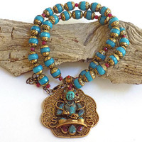 Prayer Bead Necklace, Tibetan Necklace, Turquoise Bead Necklace, Handcrafted Jewelry, Pendant Necklace for Women, Spiritual Jewelry