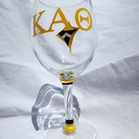 Kappa Alpha Theta Sorority Hand Painted Wine Glass