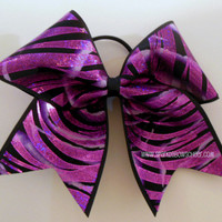 Bright Purple Foil Zebra Large Cheer Bow Hair Bow Cheerleading