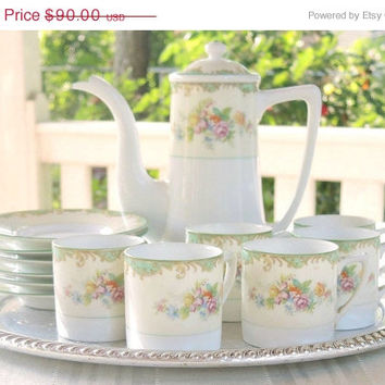 On Sale Antique Hand Painted Noritake Tea Set Demitasse Cups Cottage Style, Tea Serving Noritake 1930's Porcelain Set Princess Tea Party