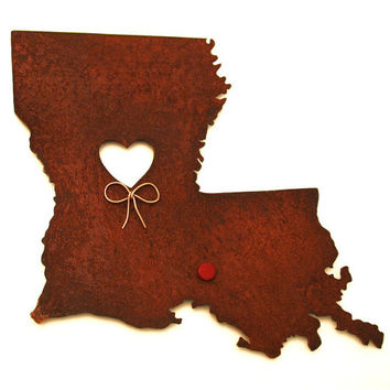 Louisiana State Map Metal Wall Art Sculpture - State Sculpture - State Silhouette - State Decor - Rustic - Rusty