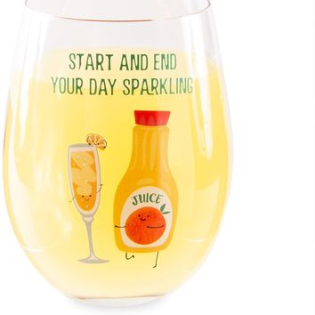 Start and end your day sparkling Mimosa Stemless Wine Glass