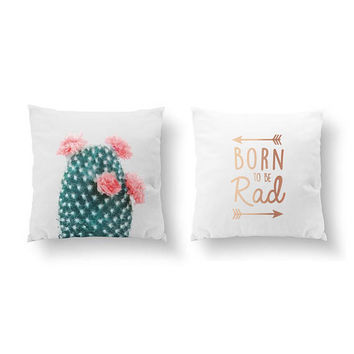 SET of 2 Pillows, Cactus Coral, Kids Art, Bed Pillow, Throw Pillow, Born To Be Rad, Gold Pillow, Boho Pillow, Cushion Cover, Floral Decor