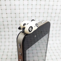 Cute White Black Crawling Lazy Panda Dust Plug 3.5mm Cell Phone Plug iPhone 4 4S 5 5S Dust Plug Samsung   Charm Headphone Jack Ear Cap