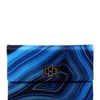 Anya Hindmarch Valorie Lapis Clutch - Blue Printed Clutch - ShopBAZAAR