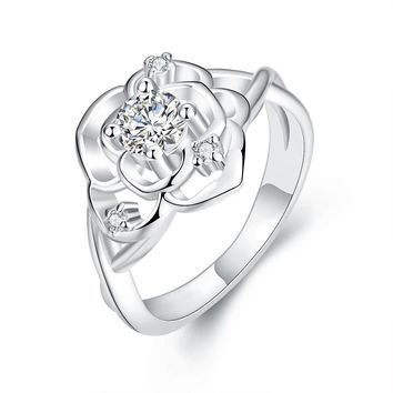 Vienna Jewelry White Gold Plated Blossoming Floral Ring   Overstock.com Shopping - The Best Deals on Gold Overlay Rings