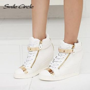 SMILE CIRCLE - 2017 High Top Leather Wedge Sneaker Shoes*