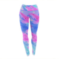"Ebi Emporium ""Seeing Stars II"" Blue Pink Yoga Leggings"
