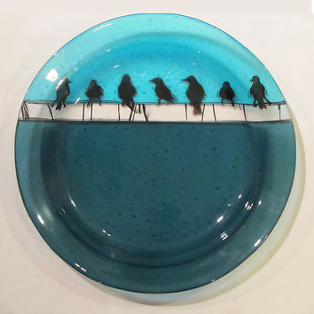 Birds on a Wire Platter by Alice Benvie Gebhart: Art Glass Platter | Artful Home