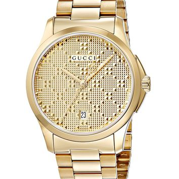 Gucci Swiss Quartz and Alloy Dress Gold-Toned Men's Watch(Model: YA126461)