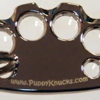 PuppyKnucks Brass Knuckles Pet Id Tag ENGRAVEABLE (Chrome, Please Engrave)