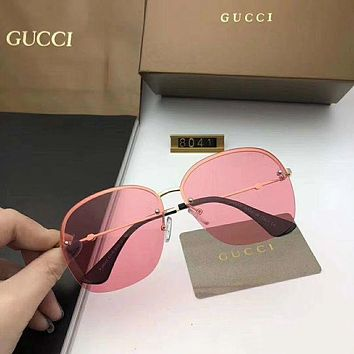 GUCCI Trending Women Men Frameless Spectacles Shades Eyeglasses Glasses Sunglasses Pink I