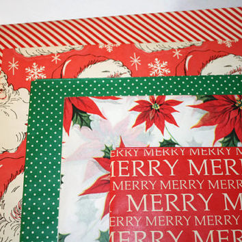 Mid Century Mod Holiday Gift Wrap, Vintage Christmas Wrapping Paper Lot