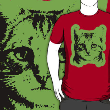 cat with green outline shirt