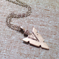 Antiqued Silver Arrow Head Pendant Necklace, Southwestern Tribal Jewelry, Silver Arrowhead