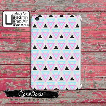 Triangle Tribal Pattern Southwestern Colors Mint Pink Tumblr Inspired Custom iPad Mini, iPad 2/3/4 and iPad Air Case Cover