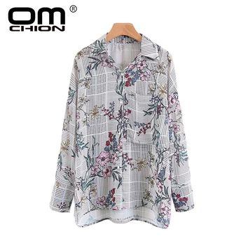 Vintage Spring Autumn Tops Floral Printed Long Sleeve Women Blouses Plaid Turn-down Collar Pockets Shirts