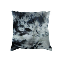 """18"""" x 18"""" Black and White Cowhide Pillow"""