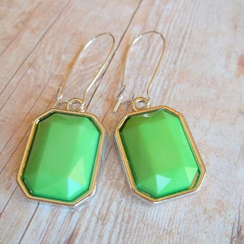 A P P L E - Bright Apple Green Silver Plated Kidney Wire Dangle Earrings