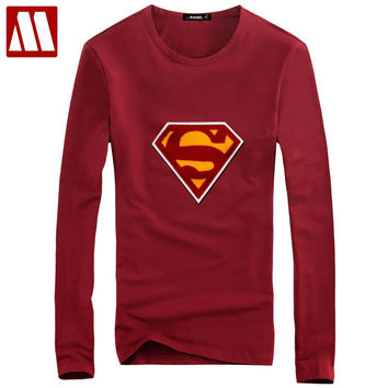 Men's Cotton T shirts Long Sleeve Fitness Top Superman flocked T-shirt Superhero Tees Bodybuilding Tees Shirt