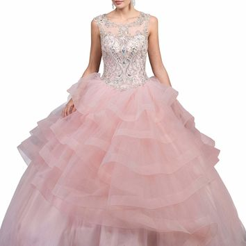 Dancing Queen - 1214 Crystal Embellished Ruffled Quinceanera Gown