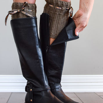Mocha Boho Boot Cuffs with Tie