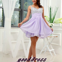 Summer Custom Made Pretty Lilac Straps Crystal Fold Chiffon A Line Formal Short Evening/Prom/Party/Bridesmaid/Homecoming/Cocktail Dress Gown