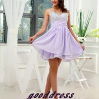 Summer Custom Made Pretty Lilac Straps Crystal Fold Chiffon A Line Formal Short Evening/Prom/Party/Brides­maid/Homecoming/Cocktail Dress Gown