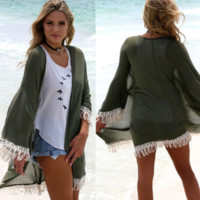 Olive Crochet Cover Up Cardigan