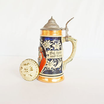 Vintage German Beer Mug, Pewter Top Stein Mug, Figurine Barware Mug, Tan and Cobalt Blue Beer Tankards, Gift Idea