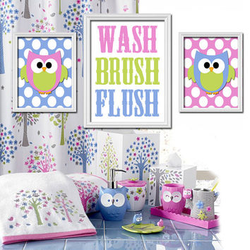 OWL Hoot Theme Bathroom Wash Brush Flush Owls Polka Dots Blue Pink Green Any Color Set of 3 Trio Prints Decor WALL ART Boy or Girl
