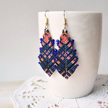 Bohemian feathers, micro macrame earrings, free spirit inspired, boho chic, macrame jewelry, blue coral black earrings, Cavandoli knotting