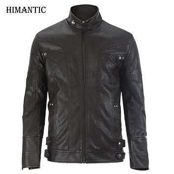 Leather Jacket Men Bomber Leather Jackets Coat Motorcycle Jackets