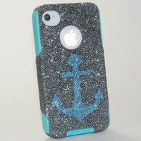 iPhone4 Otterbox Case, iPhone 4 Case, Glitter Ocean Anchor Smoke iPhone4S Case, iPhone 4s Case, iPhone4 Cover, iPhone4S Cover