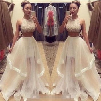 new style Fashion Hot Sexy Women Lady Two Piece Sequins Tulle  Dresses Formal Evening Party Gown