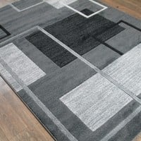 """Silver Grey Black Large Shabby Chic Faux Wool Area Rug Exact Size 5'4"""" X 7'5"""""""