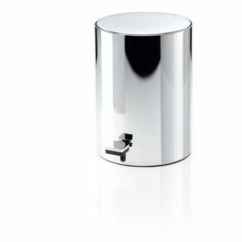 TE 50 SOFTCLOSE Soft Close Round Step Trash Can, Stainless Steel Wastebasket W/ Lid. Chrome