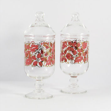 Vintage Pair of Pink and Gold Footed Apothecary Jars, Set of Two, Floral