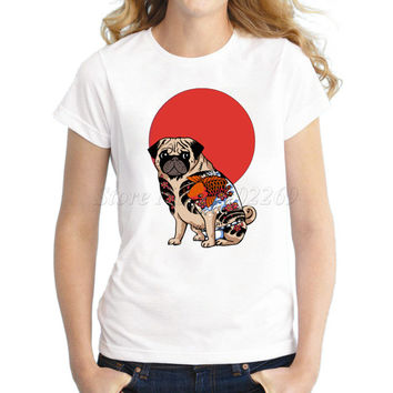 cartoon tattoo pug women t-shirt short sleeve casual lady tops Fashion Yakuza Pug hipster printed funny t shirts animal cool tee