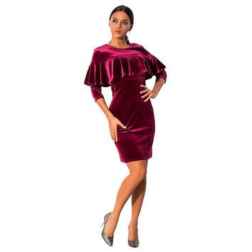 Roupa Pullovers Ruffles Pencil Dress Vestidos De Feata Long-Sleeved Velvet Dress Cocktail Party Dres