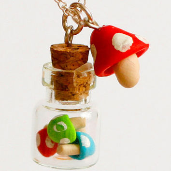 Bottle necklace polymer clay mushroom miniature kawaii by Zoozim