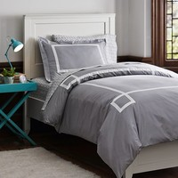 Light Grey Ribbon Trim Duvet Bedding Bundle, Light Grey Florette