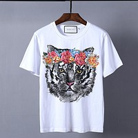 """Gucci""Hot Sale Pattern Print T-shirt Top Tiger head"