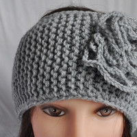 Knitted Flower Headband, grey color fall winter wear , for adult or teen girl, gift for her,
